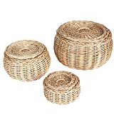 household essentials nested boxes - Household Essentials Round Vanity Wicker Storage Baskets with Lids, 3 Pc Set, Light Brown