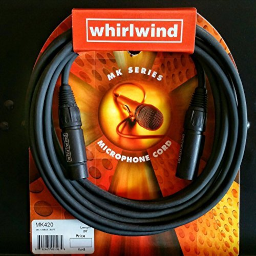 Whirlwind MK420 20 ft Microphone Cable Cord, Vocal Mic Cable Top of the Line USA 20' Whirlwind Xlr Cable