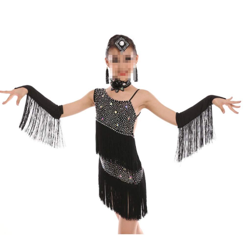 Noir 130cm YuFLangel Robes de soirée pour Fille Tango Dance Theme Enfants Girls Robe Outfits pour Adultes Robe de Demoiselle (Couleur   Violet, Taille   150cm)