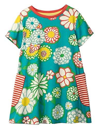 (Girls Dresses Summer Casual Toddler Cotton Stripe Unicorn Flower Dress Short Sleeves for Kids Aged 1-8)