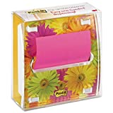 Post-it DS330LSP Pop-up Note Dispenser with Designer Daisy Insert, One 45-Sheet Pad, Black/Clear