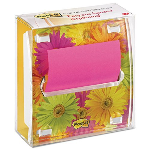 Post-it DS330LSP Pop-up Note Dispenser with Designer Daisy Insert, One 45-Sheet Pad, Black/Clear by 3M