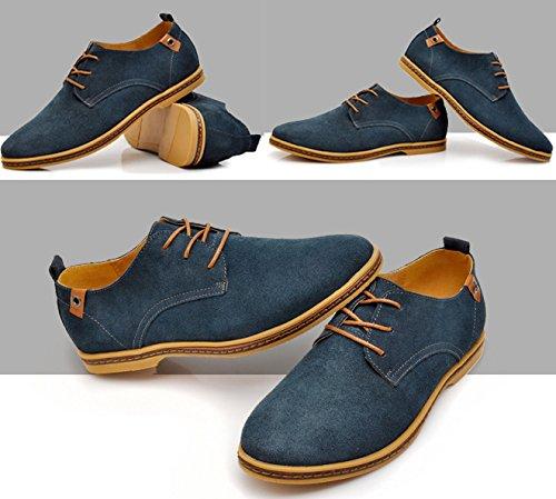 Gleader NUEVOS zapatos de gamuza de cuero de estilo europeo oxfords de los hombres casuales Azul(tamano 43)