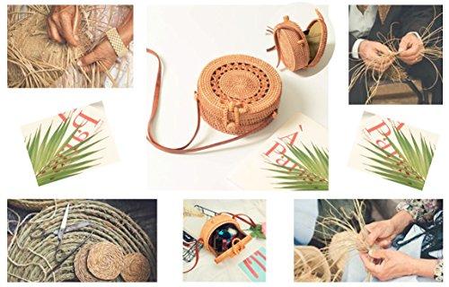 Handbag Handmade for Crossbody Bag Shoulder Handwoven women Bag Straw Rattan Round Rattan Purse Sunflower Bohemian ORwnqSXHxt