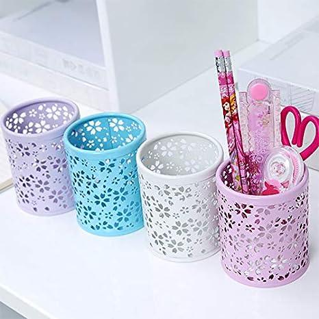 Oyfel Fournitures Bureau Rangement Fleur de Cerisier Style Japonais Creux en Metal Rose pour Enfant Fille 1 Pcs