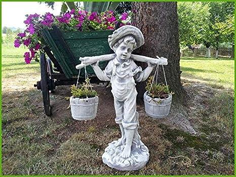 Figura de Adorno de jardín - Niño con Cubos (macetas) de Piedra fundida (Blanco): Amazon.es: Jardín