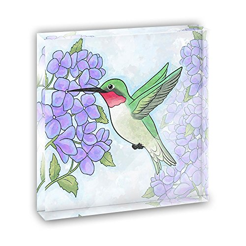 Hummingbird with Hydrangeas Acrylic Office Mini Desk Plaque Ornament ()