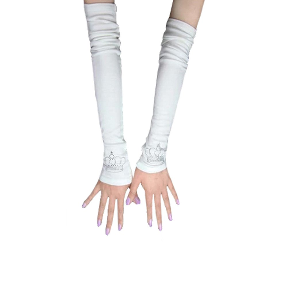 Women's Thin Cotton Long Sleeves Driving Arm Set Arm Sleeves With Crown, White Kylin Express