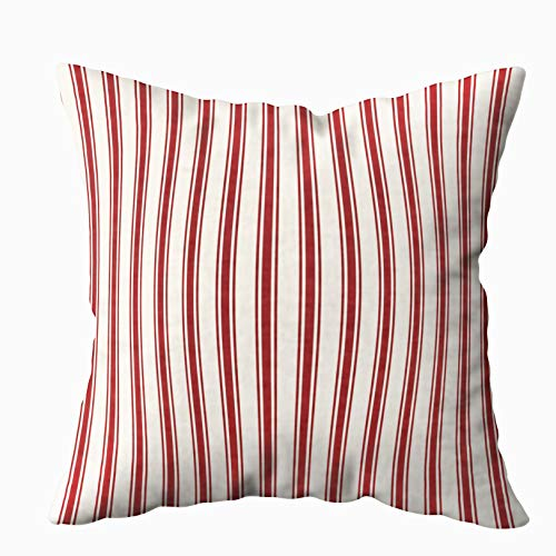 Musesh Classic Ticking Stripe Pattern red and Cream Cushions Case Throw Pillow Cover for Sofa Home Decorative Pillowslip Gift Ideas Household Pillowcase Zippered Pillow Covers 20x20Inch ()