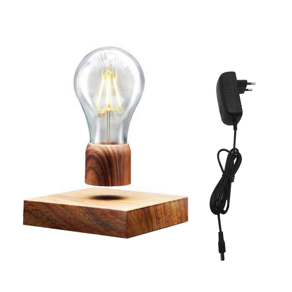 Cocal Creative Wood Color Vintage Magnetic Floating Lighting Bulb Levitating Floating Wireless LED Light Bulb Desk Lamp for Unique Gifts, Room Decor, Night Light, Home Office Decor Desk Tech Toys