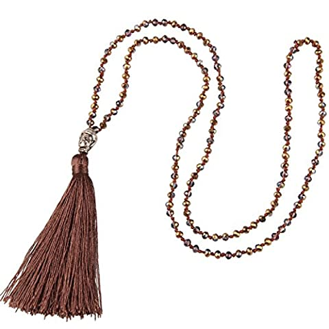 KELITCH Natural Crystal Silver Buddha Head Beaded Tassel Layering Necklace Handmade Fashion Wrap Jewelry - Crystal Wrap Necklace