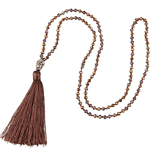 KELITCH Natural Crystal Silver Buddha Head Beaded Tassel Layering Necklace Handmade Fashion Wrap Jewelry (Brown) (Buddha Head Silver)