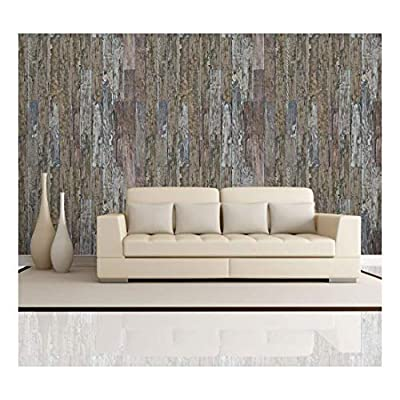Vertical Brown Rusty and Retro Wood Textured Paneling Wall Mural Removable Wallpaper, Made For You, Elegant Artistry