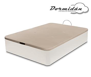 Dormidán - Canapé abatible de Gran Capacidad con Esquinas Redondeadas en Madera, Base tapizada 3D Transpirable + 4 válvulas aireación 90x190cm Color Blanco: ...