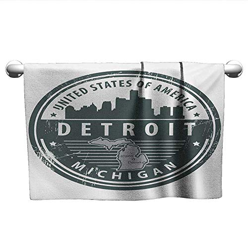 alisoso Detroit,Small Bath Towels Damaged Old Stamp of Michigan USA with City Map Location Tourism Travel Icon 3D Digital Printing Black White Grey W 35