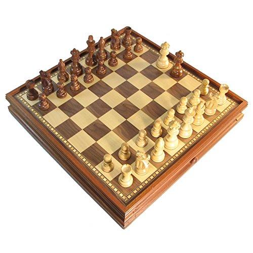 """3"""" Honey Rosewood French Staunton Chess Set w/ 15"""" Walnut Storage Board"""