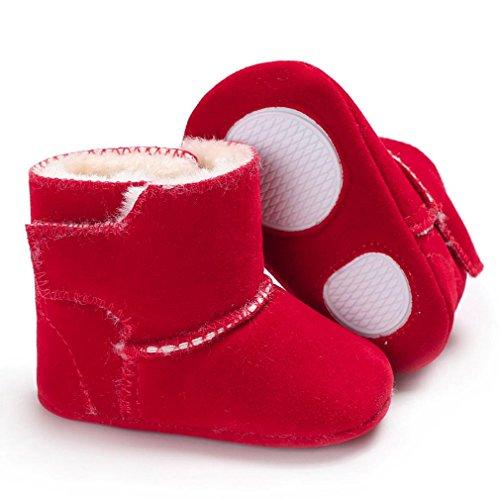 Hunpta Neugeborenes Baby Flauschige Samt Schuhe Soft Sole Krippe Kleinkind Anti-Rutsch Rot