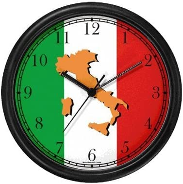 WatchBuddy Map of Italy Tan on Flag of Italy Italy Theme Wall Clock Timepieces Black Frame