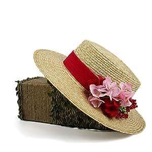 73be50c913821 WELSUN 2018 Sombrero de Verano Nuevo Sombrero de Sol Sombrero de Paja roja  Boater para Mujeres