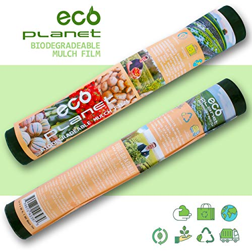 (EcoPlanet Bio-degradable Agricultural Plasticulture Black Plastic Mulch Film Gardening Farming Film Weed Barrier (Type A) (1 Mil, 2.7 feet x 50 feet) )