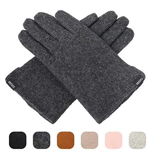 CACUSS Women's Winter Wool Knit Gloves Touchscreen Texting Finger Tips with Warm Fleece Lining (Dark ()