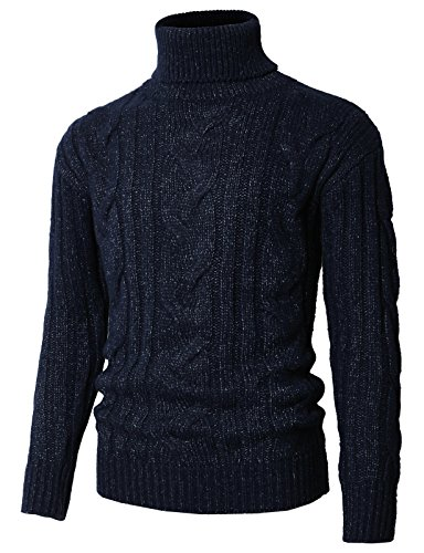 H2H Mens Slim Fit Narrow Ribbed Cotton Blend Turtleneck Pullover Navy US L/Asia XL (KMOSWL0222) (Ribbed Wool Blend)