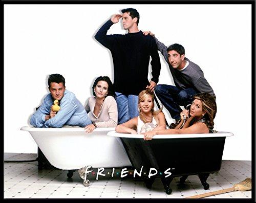 (Friends Bath Tubs TV Romantic Sitcom Television Show Postcard Poster Print, Framed 11x14)