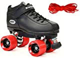 Riedell Black Dart Quad Speed Skates w/ Red Wheels & 2 Pair of Laces (Red & Black) (Kids 3)