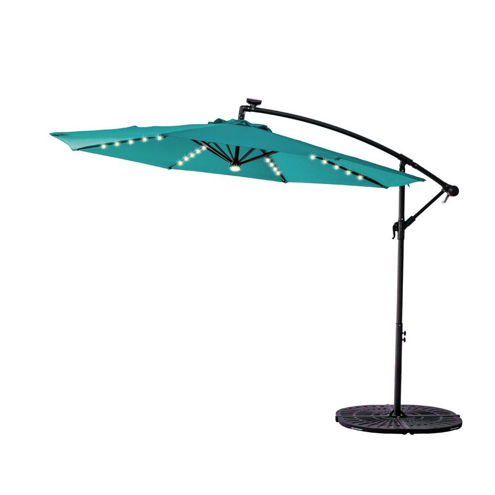 C-Hopetree 10 Feet LED Offset Outdoor Cantilever Umbrella, Solar Light Hanging Patio Umbrella with Cross Base, Crank Winder, Large Round, Aqua Blue by C-Hopetree