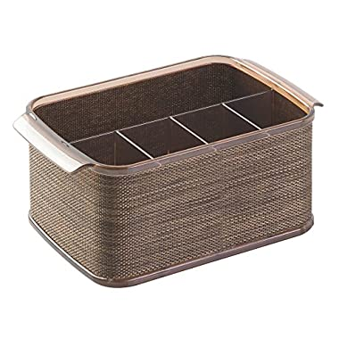 InterDesign Twillo Silverware, Flatware Caddy Organizer for Kitchen Countertop Storage, Dining Table - Bronze/Sand