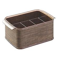 InterDesign Twillo Silverware Organizer Caddy - Flatware Storage Solution for Kitchen Countertop or Dining Table, Bronze/Sand