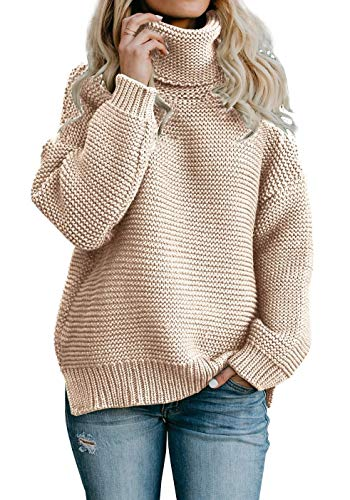 f218b9fff23 CNJFJ Womens Pullover Sweaters Oversized Turtleneck Knit Chunky Christmas  Winter Sweater