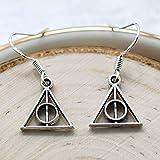 Deathly Hallows Earrings Sterling Silver Hooks - Harry Potter Jewelry for Women - Potterhead Gifts