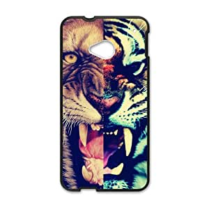 Lion and Tiger Roaring Personalized Design Cool Setro Style Fashion Custom Luxury Cover Case For HTC One M8(Black) with Best Plastic