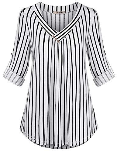 Hibelle Striped Blouses for Women, Trendy Tops Fashion Modern Designer Shirts 3/4 Cuffed Sleeves Button Trim Wrap Vneck Pleats Round Hem Basic Comfy Western Tunics White and Black ()
