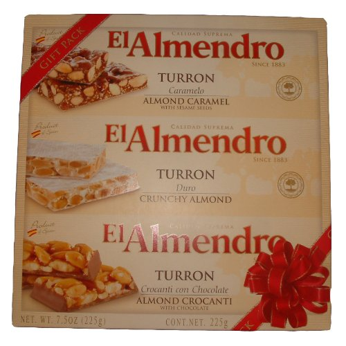 El Almendro Turron Almond Candy 3 Variety Pack 7.5 Ounces Box by El Almendro