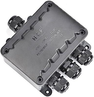ATPWONZ Caja de Conexiones IP66 del Conector Exterior de 4 Vías Cable de la Caja de Empalmes M16 Glándula Cable Ø 5 mm - 10 mm (Negro): Amazon.es: Bricolaje y herramientas