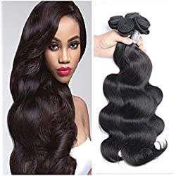 Maxine 8A Grade Malaysian Virgin Body Wave 3Bundles Hair Weft Cheap 100% Unprocessed Human Hair Weave Extensions Natural Black Color 95-100g/pc(20 22 24 Inch)