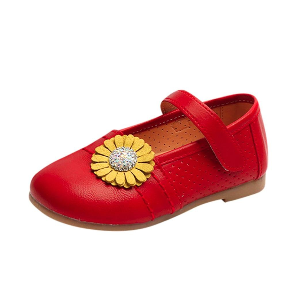 Baby Flat Shoes, CSSD Toddler Children Kids Fashion {Floral Ballerina} {Casual Pricness} Flat Shoes (Red, 24)