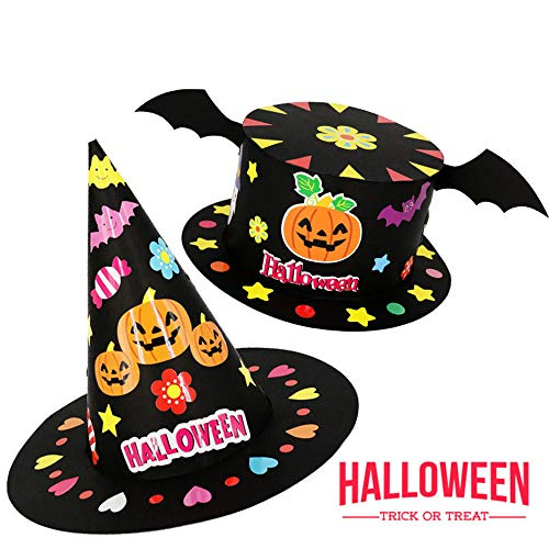 Halloween Hat 2 Pack with Black Bat Pumpkin Ghost Flowers Festival Birthday Performance Props Kindergarten Magician's DIY Hat Handmade Craft Creative Gifts for Boys and -