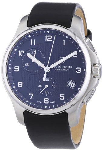 Victorinox Swiss Army Men's 241552.1 Leather Officers Analog Quartz Chronograph Watch