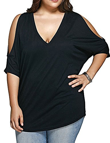 Womens Plus Size Cut Out Sleeve T-Shirt Plunge V Neck Casual Tee Tops XL (Plus V-neck Top)