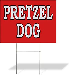 Weatherproof Yard Sign Pretzel Dog Food Fair Restaurant Truck Red Lawn Garden Desserts 24x18 Inches 2 Sides Print