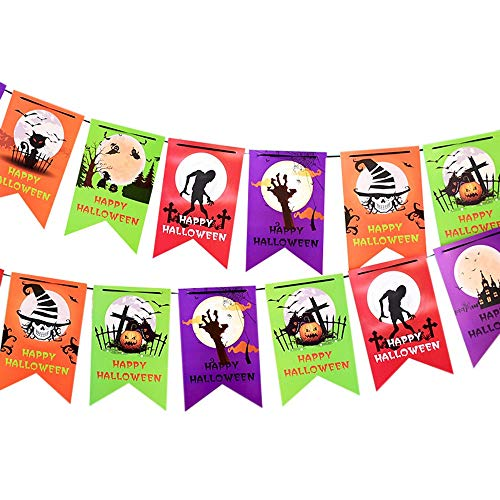 Paper String Flag Halloween Decoration Props Colorful Hanging