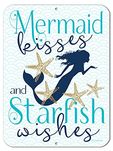 (Honey Dew Gifts Mermaid Kisses and Starfish Wishes - 9 x 12 inch Metal Aluminum Novelty Sign Decor - Made in The USA)