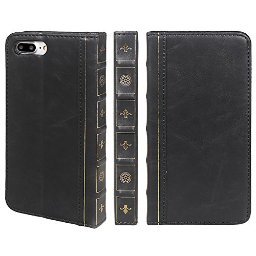 xhorizon SR Premium Leather Wallet Book Case Credit Card Holder Old-looking Antique Style Vintage Book Style Wallet Flip Slim Case for iPhone 7 Plus/iPhone 8 Plus