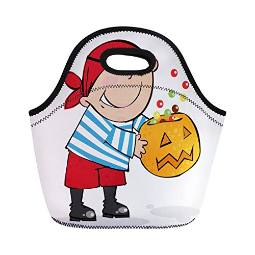 Semtomn Lunch Tote Bag Orange Costume Trick Treat Halloween Pirate Boy Autumn Black Reusable Neoprene Insulated Thermal Outdoor Picnic Lunchbox for Men Women ()
