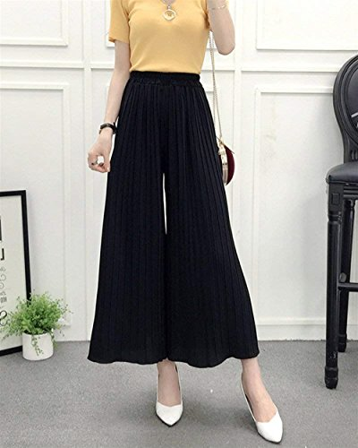 Aéré Femme Pantalon Large Élastique Mode Fille Confortables Dame Taille Ete Baggy Élégant Battercake De Noir Jeune Loisirs Casual Tendance nET6wnxq
