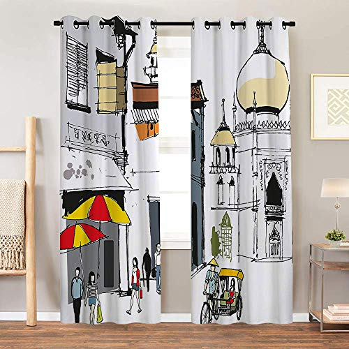 SATVSHOP Thermal Insulating Blackout Curtain - 84W x 108L Inch- Patterned Drape for Glass Door.Asian Hand Drawn Illustration of Old Singapore Traditional Building People Umbrellas ()