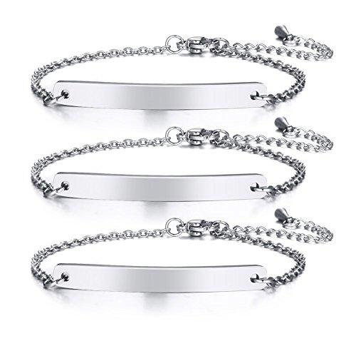 VNOX Personalized Dainty Bar Stainless Steel Link Friendship Adjustable Bracelet for Women Girl,3Pcs Set (Three Best Friends Bracelets)